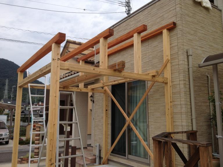 「DIYでサンルーム温室3」柱を立てよう編